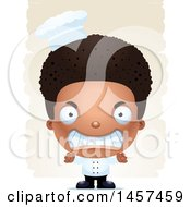 Clipart Of A 3d Mad Black Chef Boy Over Strokes Royalty Free Vector Illustration