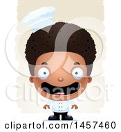 Clipart Of A 3d Happy Black Chef Boy Over Strokes Royalty Free Vector Illustration