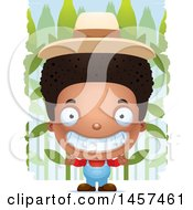 Clipart Of A 3d Grinning Black Boy Farmer Over A Crop Royalty Free Vector Illustration