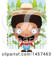 Clipart Of A 3d Happy Black Boy Farmer Over A Crop Royalty Free Vector Illustration