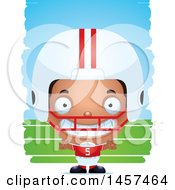 Clipart Of A 3d Grinning Black American Football Player Boy Over Strokes Royalty Free Vector Illustration