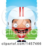 Poster, Art Print Of 3d Happy Black American Football Player Boy Over Strokes