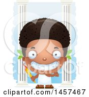 Poster, Art Print Of 3d Grinning Black Boy Holding An Olympic Torch Over Columns