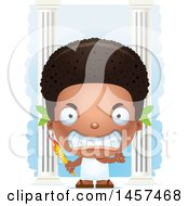 Clipart Of A 3d Mad Black Boy Holding An Olympic Torch Over Columns Royalty Free Vector Illustration by Cory Thoman