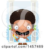 Clipart Of A 3d Happy Black Boy Holding An Olympic Torch Over Columns Royalty Free Vector Illustration by Cory Thoman