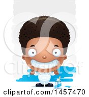 Clipart Of A 3d Grinning Black Boy Painter Over Strokes Royalty Free Vector Illustration