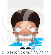 Clipart Of A 3d Mad Black Boy Painter Over Strokes Royalty Free Vector Illustration