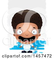 Clipart Of A 3d Happy Black Boy Painter Over Strokes Royalty Free Vector Illustration