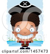 Clipart Of A 3d Grinning Black Boy Pirate Over Strokes Royalty Free Vector Illustration