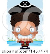Clipart Of A 3d Mad Black Boy Pirate Over Strokes Royalty Free Vector Illustration