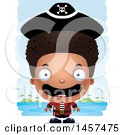 Clipart Of A 3d Happy Black Boy Pirate Over Strokes Royalty Free Vector Illustration