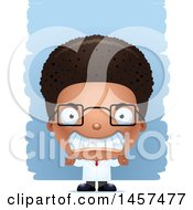 Clipart Of A 3d Mad Black Boy Scientist Over Strokes Royalty Free Vector Illustration