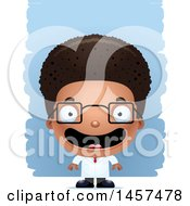 Clipart Of A 3d Happy Black Boy Scientist Over Strokes Royalty Free Vector Illustration