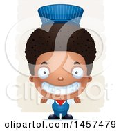 Clipart Of A 3d Grinning Black Boy Train Engineer Over Strokes Royalty Free Vector Illustration