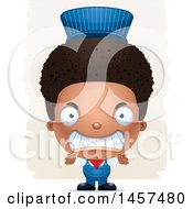 Clipart Of A 3d Mad Black Boy Train Engineer Over Strokes Royalty Free Vector Illustration