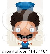 Clipart Of A 3d Happy Black Boy Train Engineer Over Strokes Royalty Free Vector Illustration