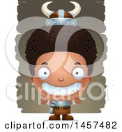Clipart Of A 3d Grinning Black Boy Viking Over Strokes Royalty Free Vector Illustration