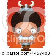 Clipart Of A 3d Mad Black Boy Viking Over Strokes Royalty Free Vector Illustration