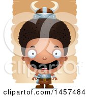 Clipart Of A 3d Happy Black Boy Viking Over Strokes Royalty Free Vector Illustration