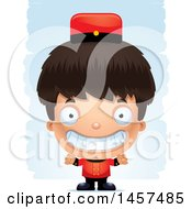 Clipart Of A 3d Grinning Hispanic Boy Bellhop Over Strokes Royalty Free Vector Illustration by Cory Thoman