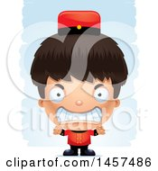 Clipart Of A 3d Mad Hispanic Boy Bellhop Over Strokes Royalty Free Vector Illustration by Cory Thoman