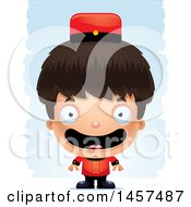 Clipart Of A 3d Happy Hispanic Boy Bellhop Over Strokes Royalty Free Vector Illustration by Cory Thoman