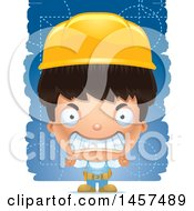 Clipart Of A 3d Mad Hispanic Boy Builder Over Blue Royalty Free Vector Illustration