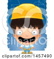 Clipart Of A 3d Happy Hispanic Boy Builder Over Blue Royalty Free Vector Illustration