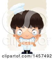Clipart Of A 3d Mad Hispanic Boy Chef Over Strokes Royalty Free Vector Illustration