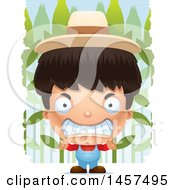 Clipart Of A 3d Mad Hispanic Boy Farmer Over A Crop Royalty Free Vector Illustration