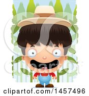 Clipart Of A 3d Happy Hispanic Boy Farmer Over A Crop Royalty Free Vector Illustration