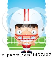 3d Grinning Hispanic Boy Football Player Over Strokes