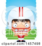 Clipart Of A 3d Mad Hispanic Boy Football Player Over Strokes Royalty Free Vector Illustration