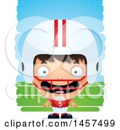 Clipart Of A 3d Happy Hispanic Boy Football Player Over Strokes Royalty Free Vector Illustration