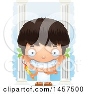 Clipart Of A 3d Grinning Hispanic Boy Holding A Torch Over Colums Royalty Free Vector Illustration by Cory Thoman