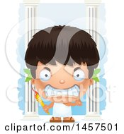 Clipart Of A 3d Mad Hispanic Boy Holding A Torch Over Colums Royalty Free Vector Illustration by Cory Thoman