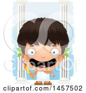 Clipart Of A 3d Happy Hispanic Boy Holding A Torch Over Colums Royalty Free Vector Illustration by Cory Thoman