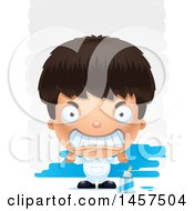 Clipart Of A 3d Mad Hispanic Boy Painter Over Strokes Royalty Free Vector Illustration