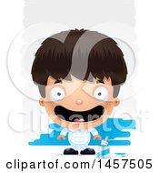 Poster, Art Print Of 3d Happy Hispanic Boy Painter Over Strokes