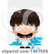 Clipart Of A 3d Happy Hispanic Boy Painter Over Strokes Royalty Free Vector Illustration