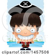 Clipart Of A 3d Grinning Hispanic Boy Pirate Over Strokes Royalty Free Vector Illustration