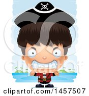 Clipart Of A 3d Mad Hispanic Boy Pirate Over Strokes Royalty Free Vector Illustration