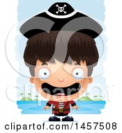 Clipart Of A 3d Happy Hispanic Boy Pirate Over Strokes Royalty Free Vector Illustration