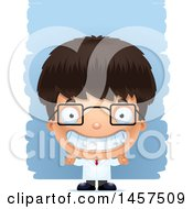 Clipart Of A 3d Grinning Hispanic Boy Scientist Over Strokes Royalty Free Vector Illustration