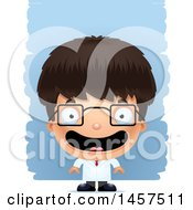 Clipart Of A 3d Happy Hispanic Boy Scientist Over Strokes Royalty Free Vector Illustration