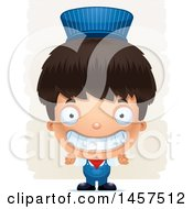 Clipart Of A 3d Grinning Hispanic Boy Train Engineer Over Strokes Royalty Free Vector Illustration