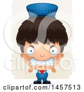 Clipart Of A 3d Mad Hispanic Boy Train Engineer Over Strokes Royalty Free Vector Illustration