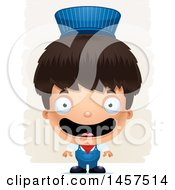 Clipart Of A 3d Happy Hispanic Boy Train Engineer Over Strokes Royalty Free Vector Illustration