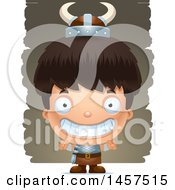 Clipart Of A 3d Grinning Hispanic Boy Viking Over Strokes Royalty Free Vector Illustration