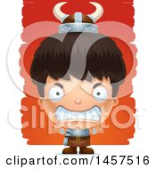 Clipart Of A 3d Mad Hispanic Boy Viking Over Strokes Royalty Free Vector Illustration